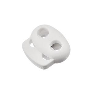 Nööristopper kahe avaga 4,3 mm, valge