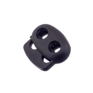 Nööristopper kahe avaga 4,3 mm, must